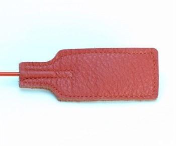 Красный кожаный стек с прямоугольным шлепком - 68 см.