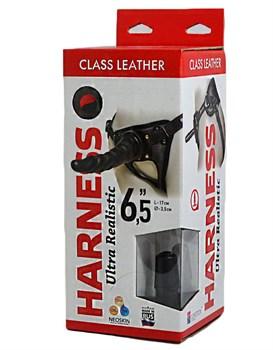 Насадка-фаллоимитатор на кожаных трусиках Harness Ultra Realistic 6,5  - 18,5 см.