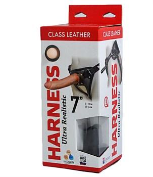 Насадка-фаллоимитатор на кожаных трусиках Harness Ultra Realistic 7  - 18 см.