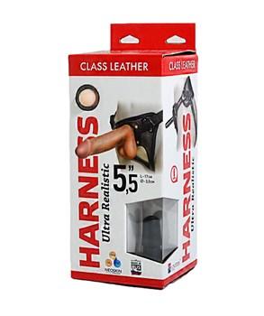 Насадка-фаллоимитатор на кожаных трусиках Harness Ultra Realistic 5,5  - 17 см.