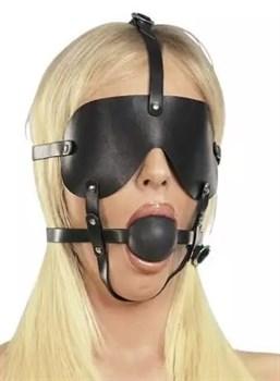 Чёрная лаковая маска-сбруя с кляпом
