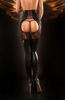 Чулки с поясом и шнуровкой Dominatrix stockings