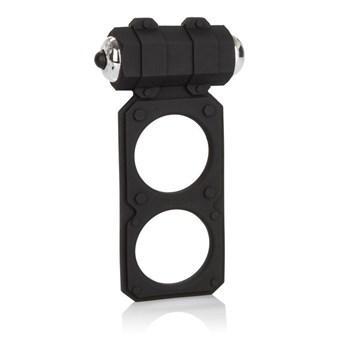 Чёрное эрекционное кольцо с вибрацией и подхватом мошонки Silicone Lovers Gear Figure 8 Enhancer