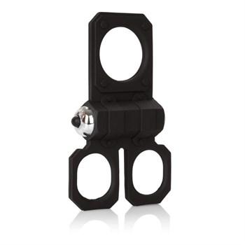 Эрекционное кольцо с вибрацией Silicone Lovers Gear Ball Spreader Enhancer с подхватами для мошонки