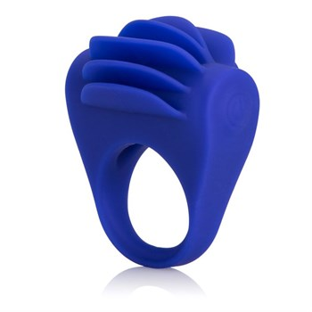 Синее эрекционное кольцо с рёбрышками и вибрацией Silicone Fluttering Enhancer