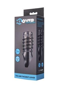 Открытая дымчатая насадка с точками и рёбрами ToyFa XLover - 11,5 см.