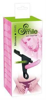 Розовый страпон на трусиках с регулируемыми бретелями Smile - 16 см.