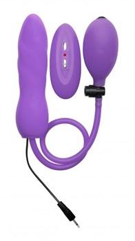 Фиолетовый расширяющийся анальный виброплаг с грушей - 14,5 см.