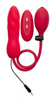 Красный расширяющийся анальный виброплаг с грушей - 14,5 см.