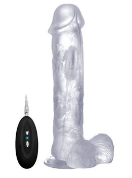 Прозрачный вибратор-реалистик Vibrating Realistic Cock 11  With Scrotum - 29,5 см.