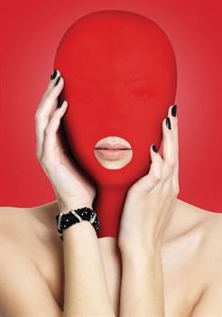 Красная маска на голову с прорезью для рта Submission Mask