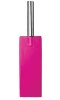 Розовая прямоугольная шлёпалка Leather Paddle - 35 см.