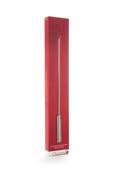 Красная шлёпалка Leather  Cross Tiped Crop с наконечником-крестом - 56 см.