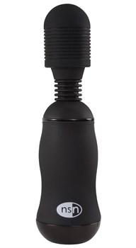 Чёрный вибромассажёр для эрогенных зон BoomBoom Power Wand - 18 см.