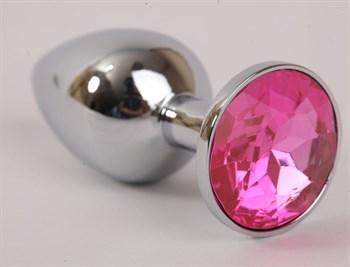 Серебряная металлическая анальная пробка с розовым стразиком - 9,5 см.