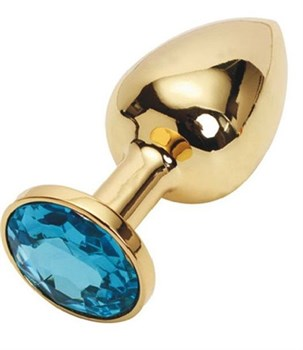 Золотистая металлическая анальная пробка с голубым стразом - 9,5 см.