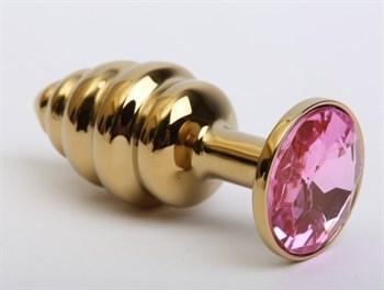 Золотистая ребристая анальная пробка с розовым стразом - 7,3 см.