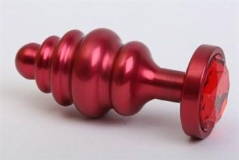 Красная ребристая анальная пробка с красным стразом - 7,3 см.