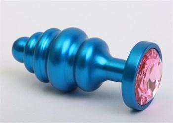 Синяя ребристая анальная пробка с розовым кристаллом - 7,3 см.