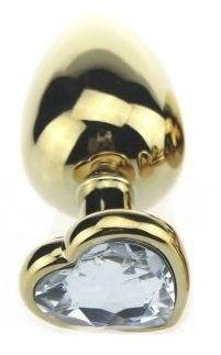 Золотистая пробка с прозрачным кристаллом-сердечком - 8 см.