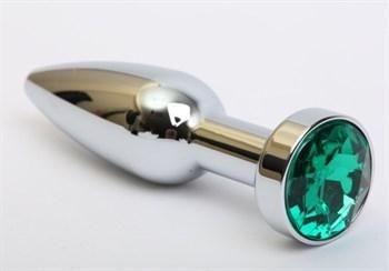 Удлинённая серебристая пробка с зеленым кристаллом - 11,2 см.