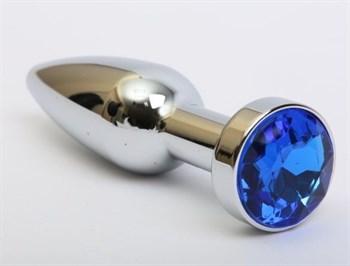 Удлинённая серебристая пробка с синим кристаллом - 11,2 см.