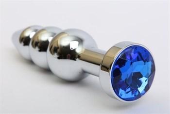 Серебристая анальная ёлочка с синим кристаллом - 11,2 см.