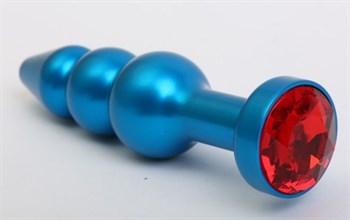 Синяя фигурная анальная пробка с красным кристаллом - 11,2 см.