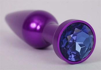 Фиолетовая анальная пробка с синим стразом - 11,2 см.
