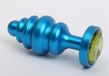 Синяя ребристая анальная пробка с зеленым кристаллом - 7,3 см.