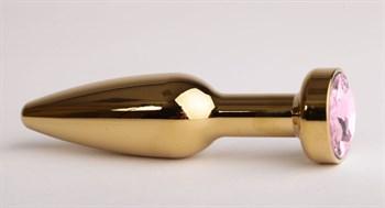 Золотистая анальная пробка с розовым кристаллом - 11,2 см.