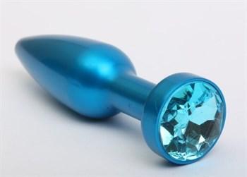 Большая синяя анальная пробка с голубым стразом - 11,2 см.