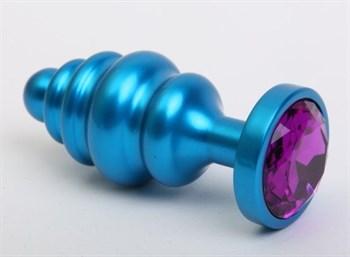 Синяя ребристая анальная пробка с фиолетовым кристаллом - 7,3 см.