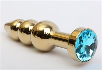 Золотистая анальная ёлочка с голубым кристаллом - 11,2 см.