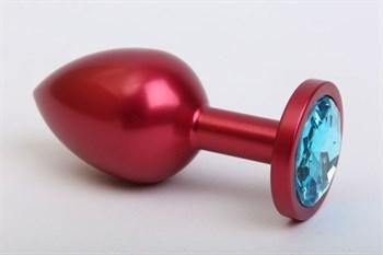 Красная анальная пробка с голубым стразом - 7,6 см.