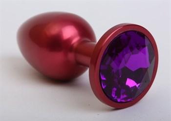 Красная анальная пробка с фиолетовым стразом - 7,6 см.