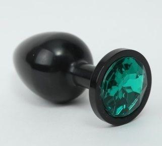 Чёрная анальная пробка с зеленым стразом - 8,2 см.