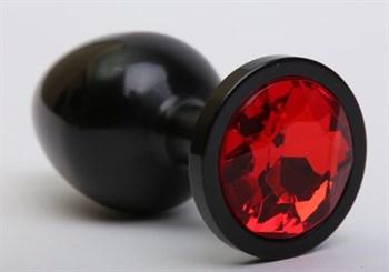 Чёрная анальная пробка с красным стразом - 8,2 см.