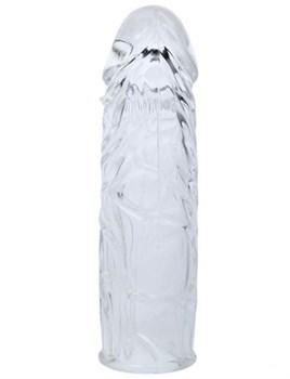 Прозрачная закрытая насадка с шипиками под головкой - 14 см.