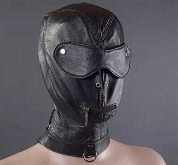Шлем с шорами, молнией для рта и ошейником