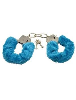 Металлические наручники с голубым мехом