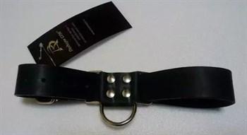 Чёрные широкие ременные наручники с полукольцом