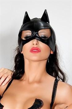 Чёрная маска с ушками и большими прорезями для глаз