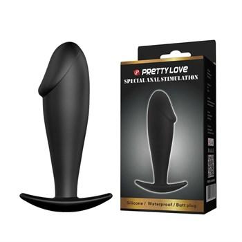 Чёрный анальный фаллос-пробка из силикона - 10 см.