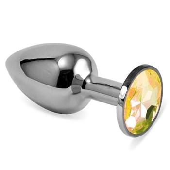Серебристая анальная пробка с жёлтым кристаллом размера M - 8 см.