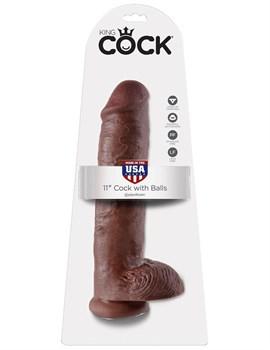 Коричневый фалоимитатор-гигант на присоске 11  Cock with Balls - 28 см.