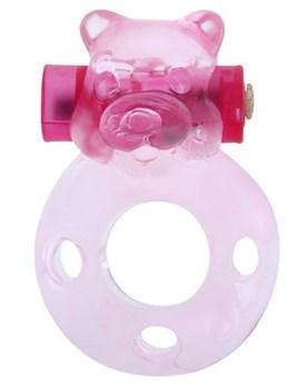 Розовое эрекционное кольцо «Медвежонок» с мини-вибратором