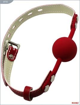 Красный силиконовый кляп с фиксацией красными кожаными ремешками