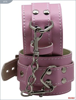 Розовые кожаные наручники с фиксацией