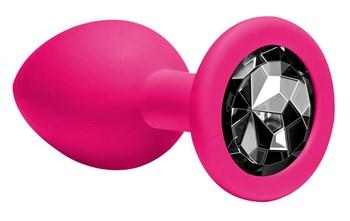 Средняя розовая анальная пробка Emotions Cutie Medium с чёрным кристаллом - 8,5 см.